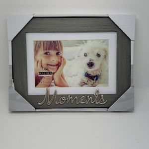 Malden 4x6  matted Picture Frame Gray & Silver NWT
